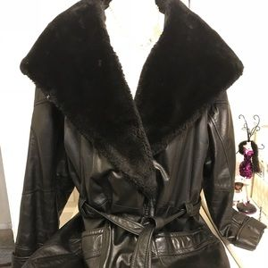 Wilson's Leather Ladies Fur-hood coat